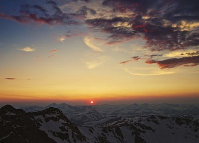sunset, mountains, landscapes, nature - related desktop wallpaper