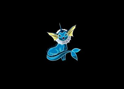 Pokemon, Vaporeon, Aquarius, black background - desktop wallpaper