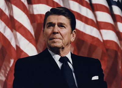 suit, Ronald Reagan, American Flag - random desktop wallpaper