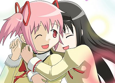 school uniforms, pink hair, Mahou Shoujo Madoka Magica, Kaname Madoka, open mouth, anime, Akemi Homura, wink, anime girls, hair ornaments, black hair, hugging - related desktop wallpaper