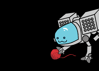 robots, cats, yarn, black background - random desktop wallpaper