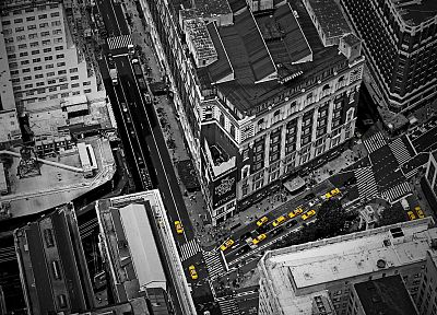 cityscapes, architecture, buildings, taxi, Birds Eye, selective coloring - random desktop wallpaper