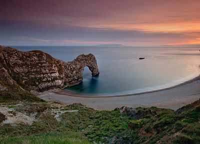 sunset, England, rocks, Lulworth Cove, sea, beaches - desktop wallpaper