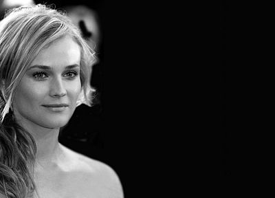 women, actress, Diane Kruger, monochrome, black background - random desktop wallpaper