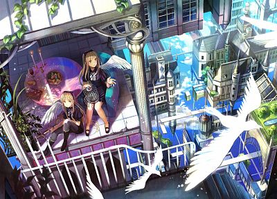 blondes, wings, birds, fantasy art, yellow eyes, sitting, anime, purple eyes, Fuji Choko, anime girls, cities, original characters - related desktop wallpaper
