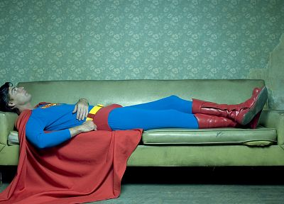 couch, Superman, costume, superheroes, Confessions of a Superhero, Christopher Lloyd Dennis - random desktop wallpaper