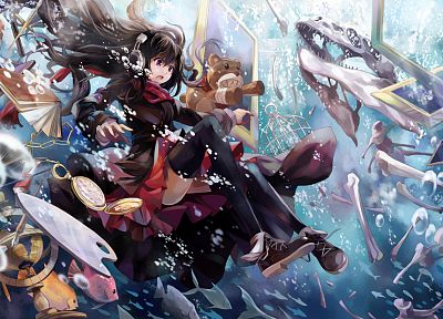 headphones, stockings, clocks, shoes, bubbles, books, globes, skeletons, frames, open mouth, chess pieces, scarfs, teddy bears, purple eyes, pens, hats, paint brushes, pencils, underwater, original characters, fishes - desktop wallpaper