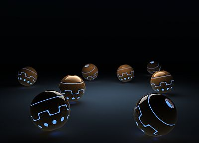 balls, glowing, artwork, spheres - random desktop wallpaper