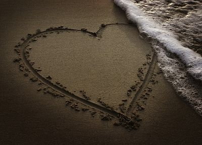 sand, models, hearts, sea, beaches - desktop wallpaper