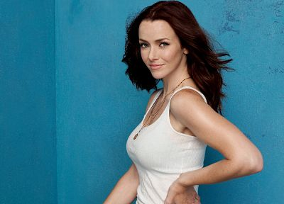 brunettes, women, actress, tank tops, smiling, Annie Wersching - random desktop wallpaper