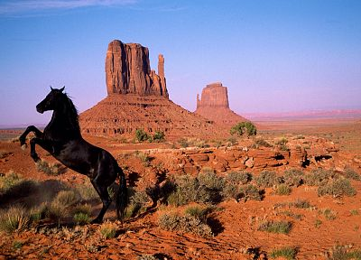 nature, animals, horses, rock formations - related desktop wallpaper