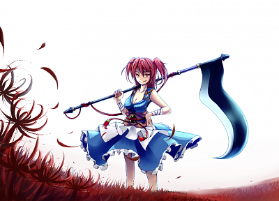 women, Touhou, scythe, redheads, weapons, shinigami, short hair, Onozuka Komachi, white background, spider lilies - random desktop wallpaper