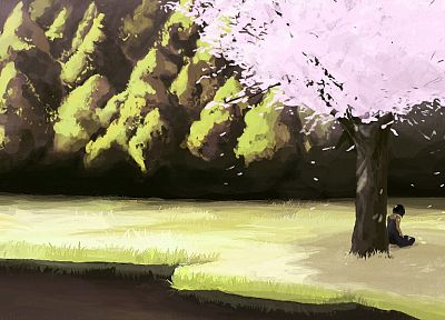 trees, artwork, flower petals - random desktop wallpaper