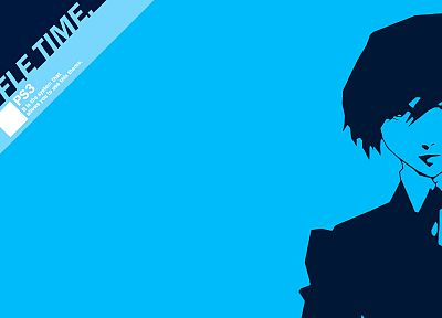 blue, Persona series, Persona 3, simple background, Arisato Minato - random desktop wallpaper