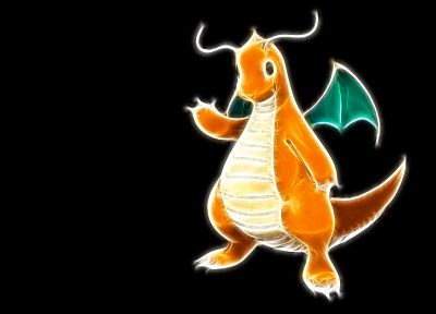 Pokemon, simple background, Dragonite, black background - related desktop wallpaper
