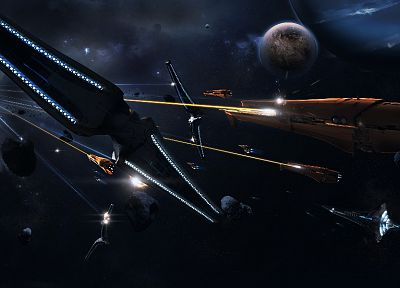 outer space, fight, rocks, spaceships, battles, science fiction, vehicles, moons - related desktop wallpaper