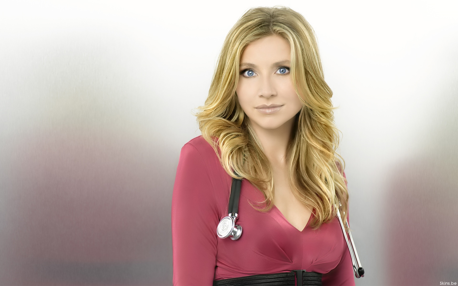 women, blue eyes, Scrubs, Sarah Chalke, Elliot Reed, stethoscopes - desktop wallpaper