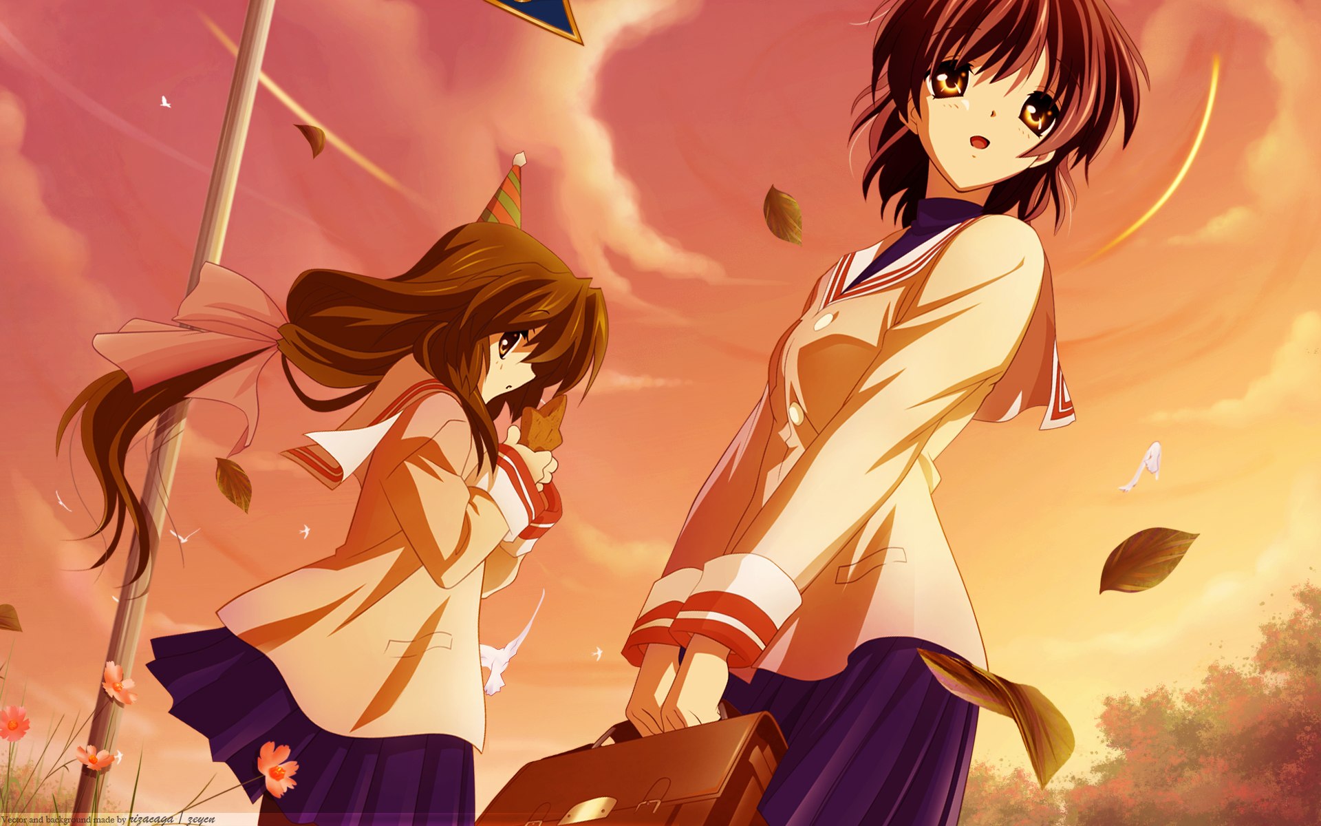 Clannad, Ibuki Fuko, Furukawa Nagisa, anime girls - desktop wallpaper