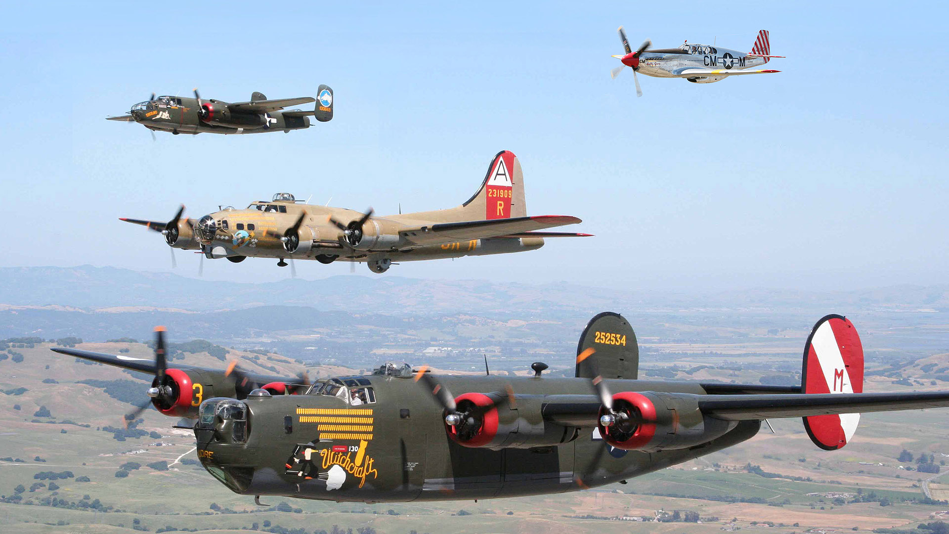 Aircraft B 17 Flying Fortress B 25 Mitchell B 24 Liberator