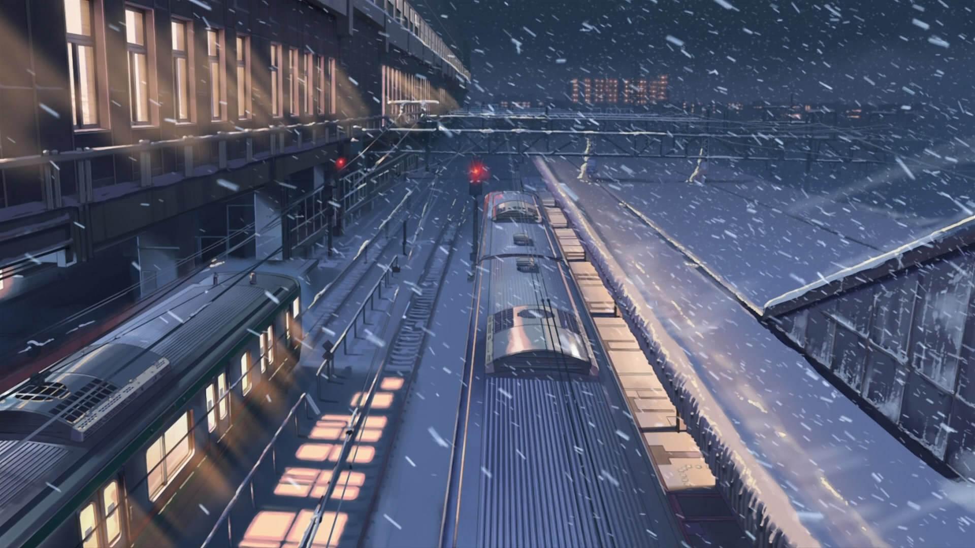 Snow Makoto Shinkai Train Stations 5 Centimeters Per Second
