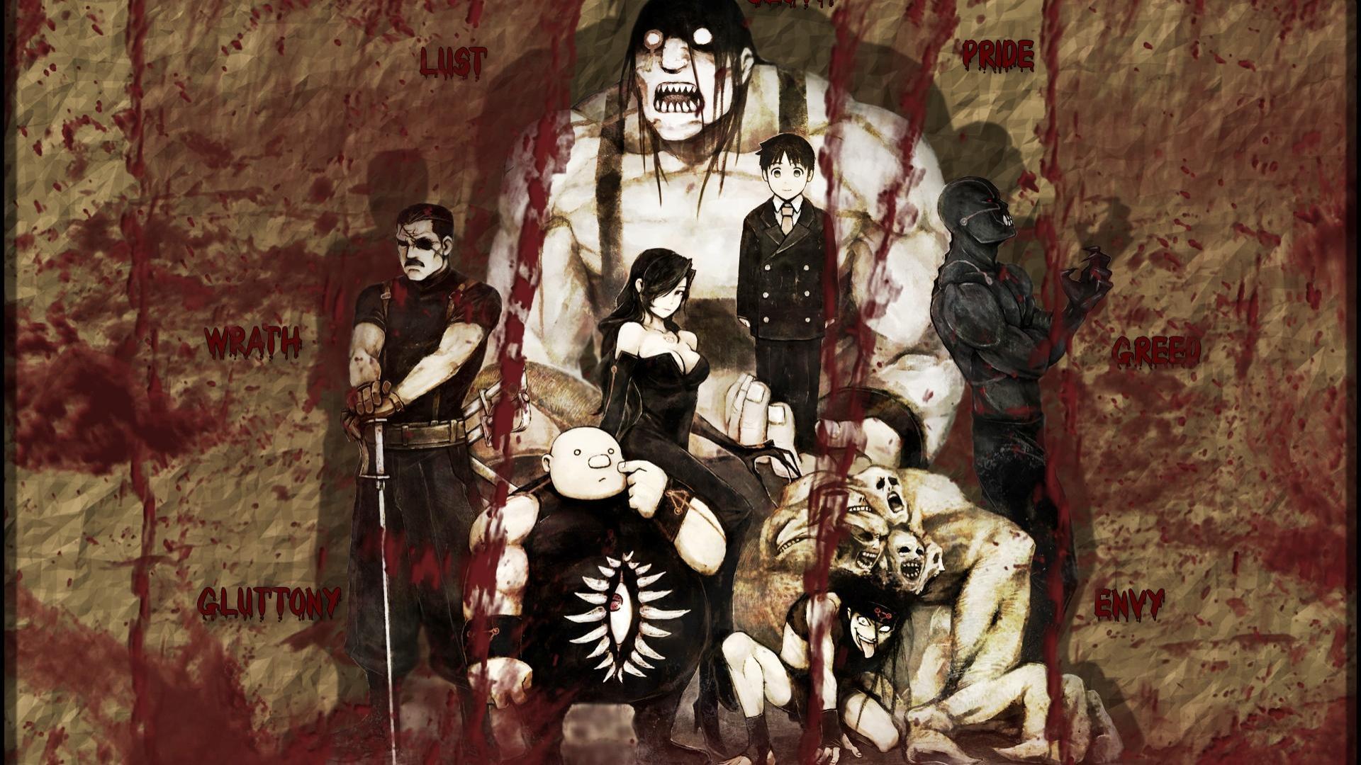 Fullmetal Alchemist Seven Deadly Sins Lust FMA Gluttony