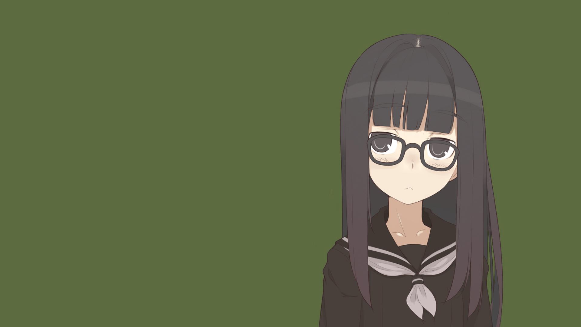 School Uniforms Glasses Anime Girls Black Hair Free Wallpaper