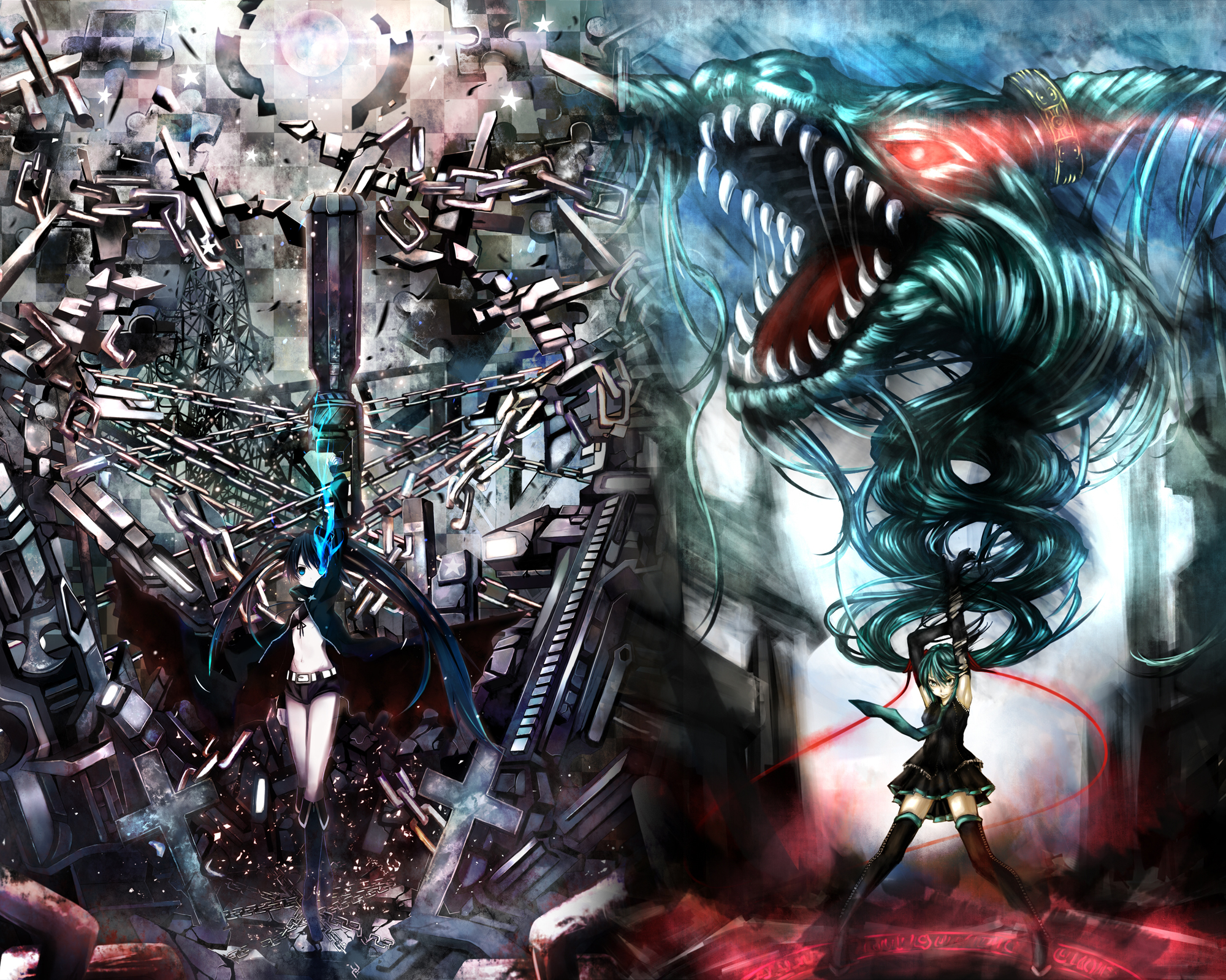 Vocaloid Black Rock Shooter Hatsune Miku Free Wallpaper