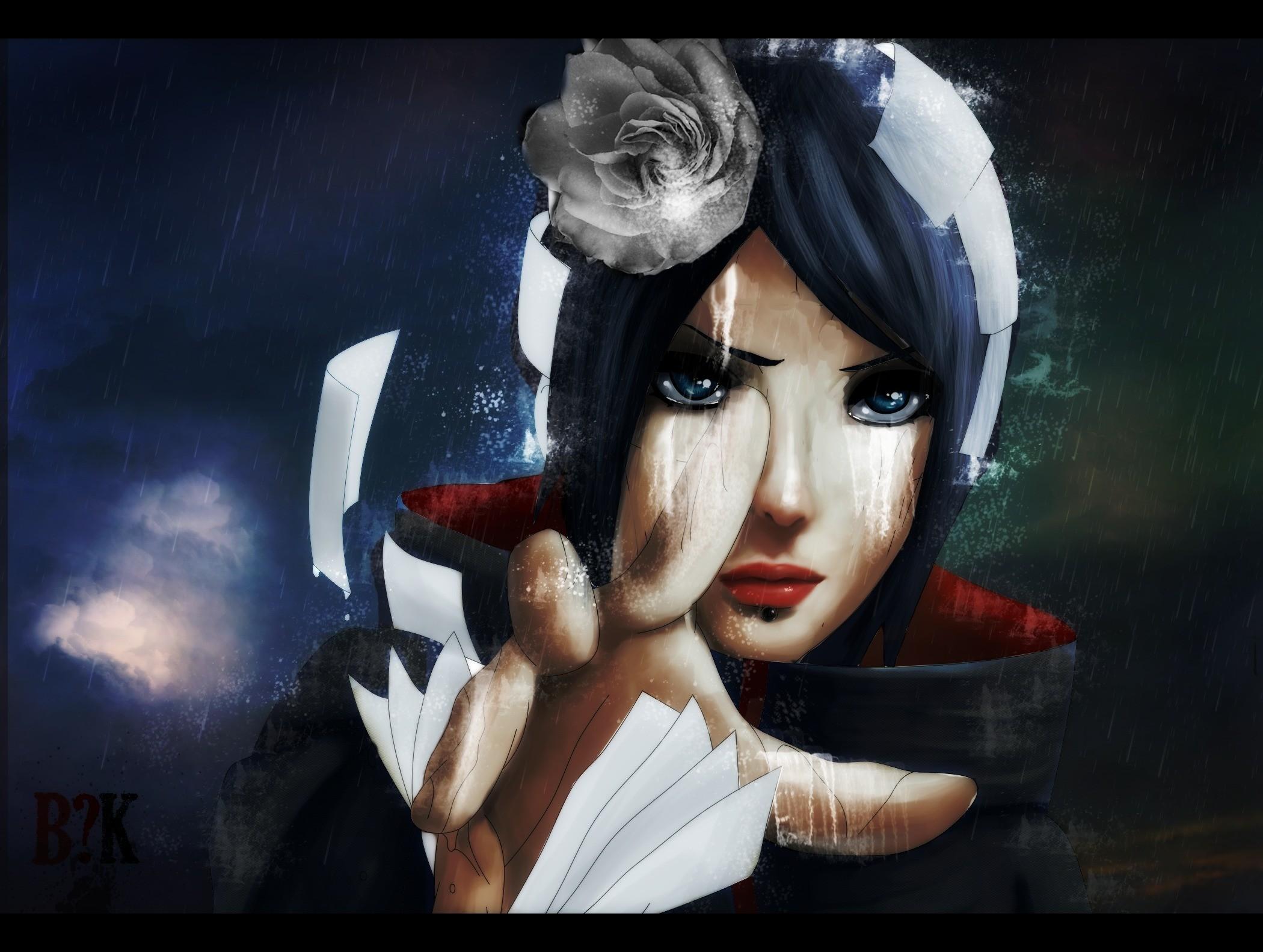 Paper Rain Blue Eyes Naruto Shippuden Akatsuki Blue Hair