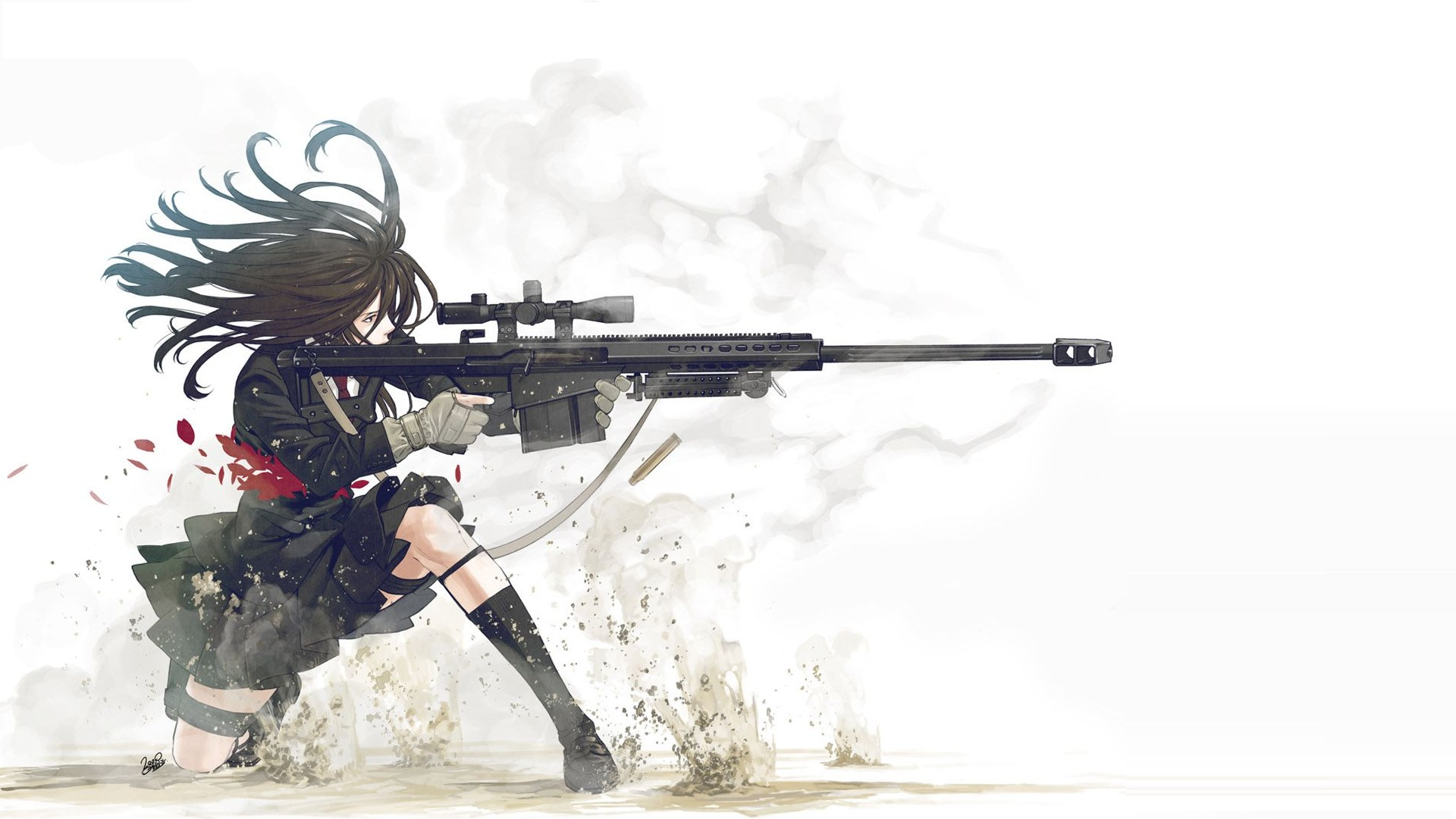 guns, school uniforms, anime girls, kozaki yusuke, original