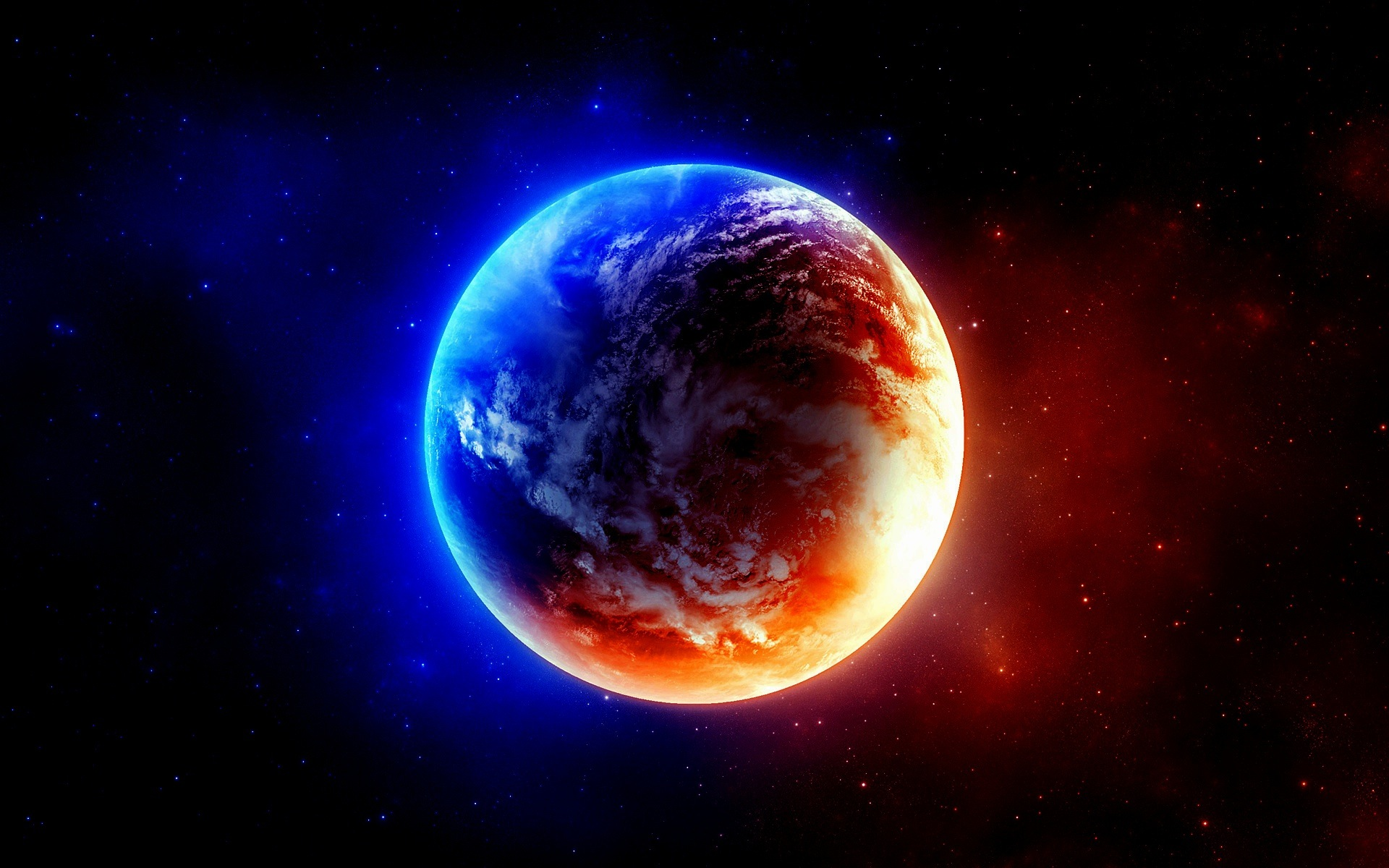 Blue Outer Space Red Planets Earth