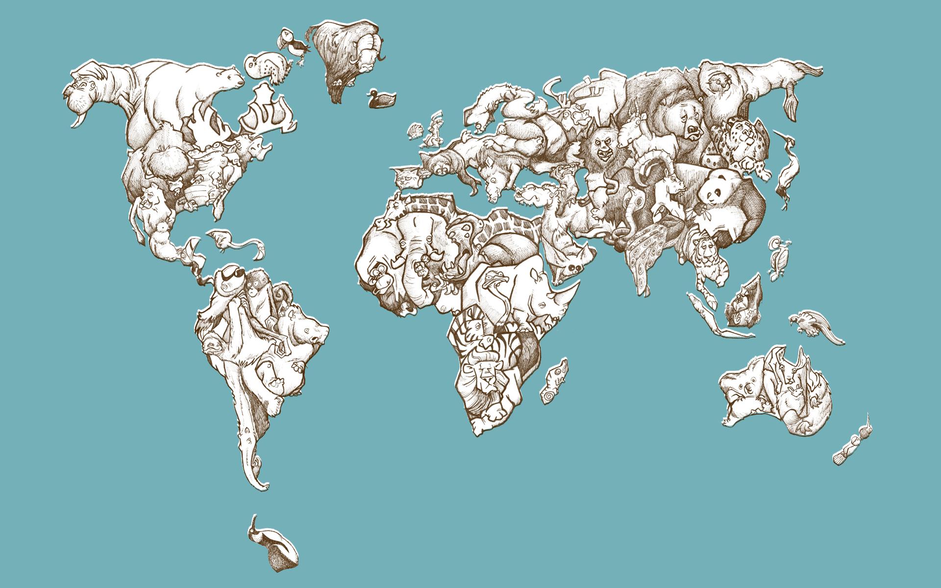 Animals maps world map free wallpaper wallpaperjam gumiabroncs Choice Image