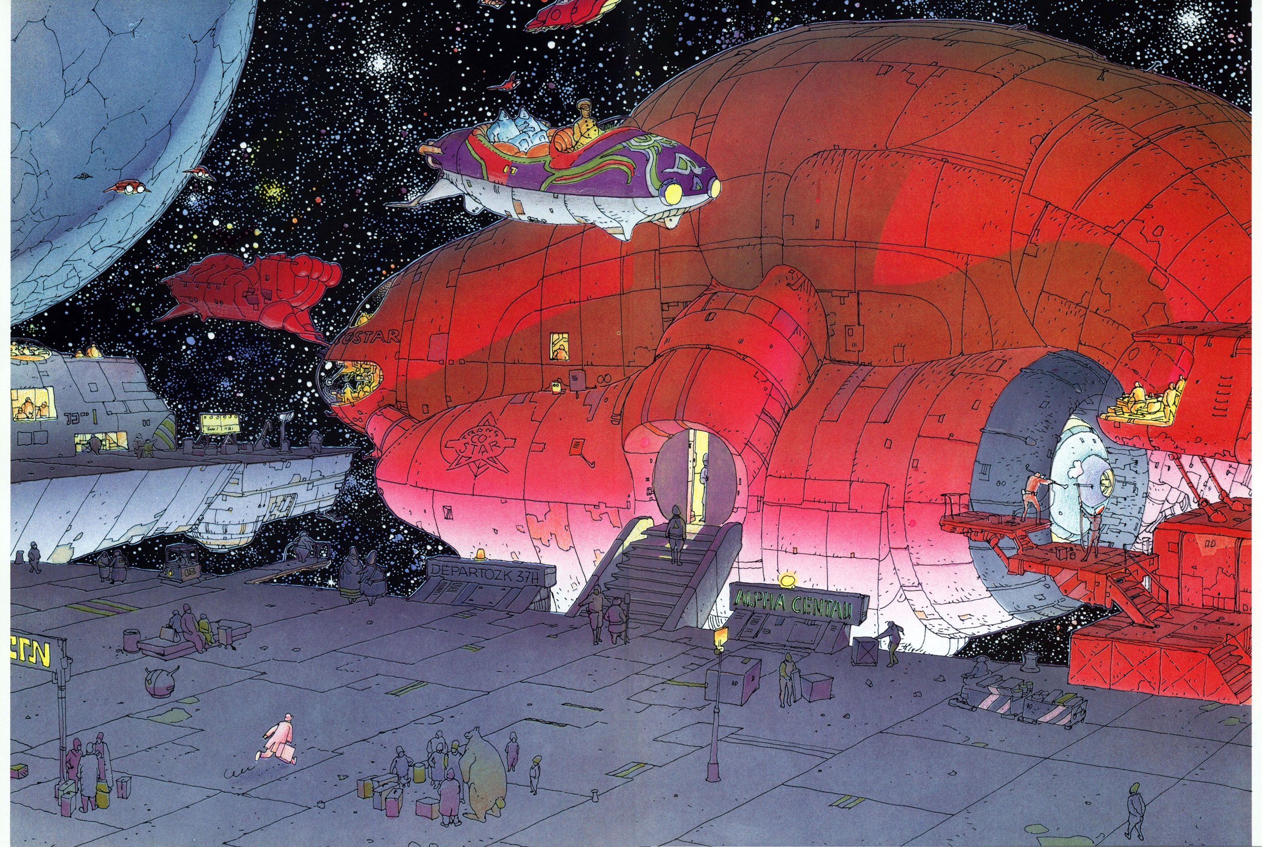 outer space, artwork, moebius - Free