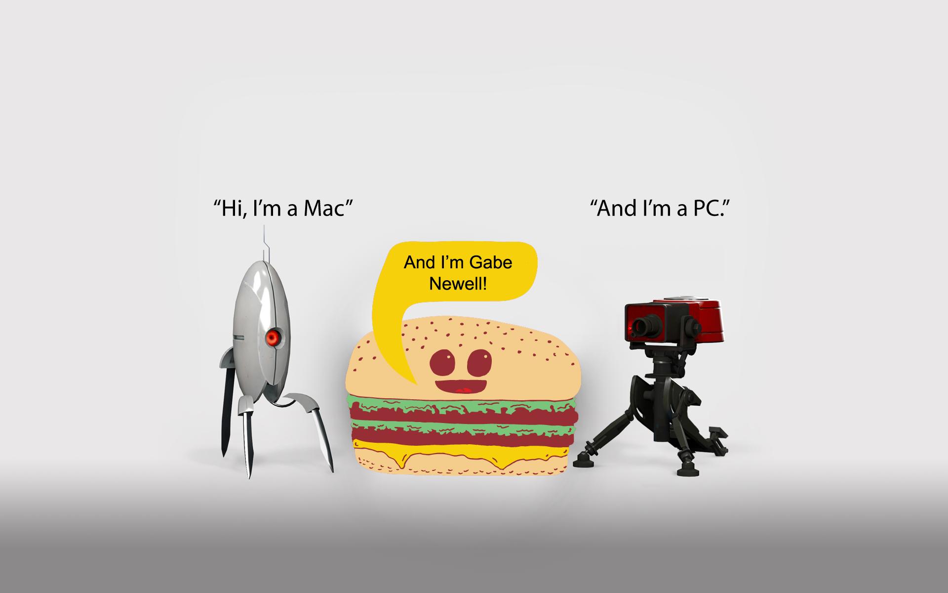 portal, mac, funny, pc, team fortress 2, gabe newell, hamburgers