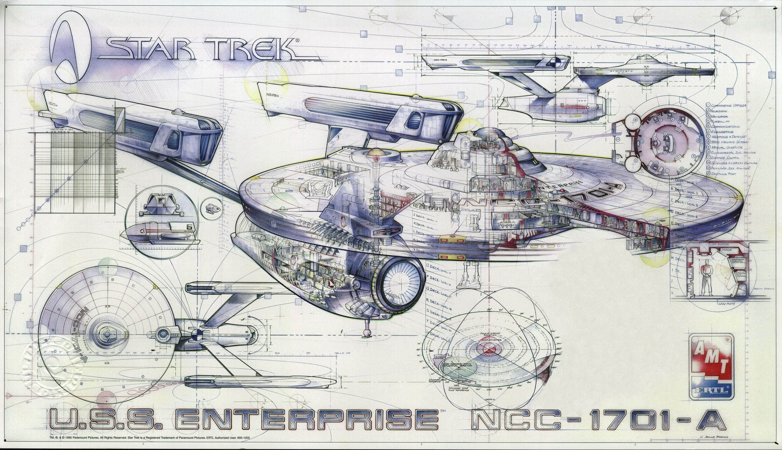 Star Trek, blueprints, USS Enterprise, Star Trek schematics - Free ...