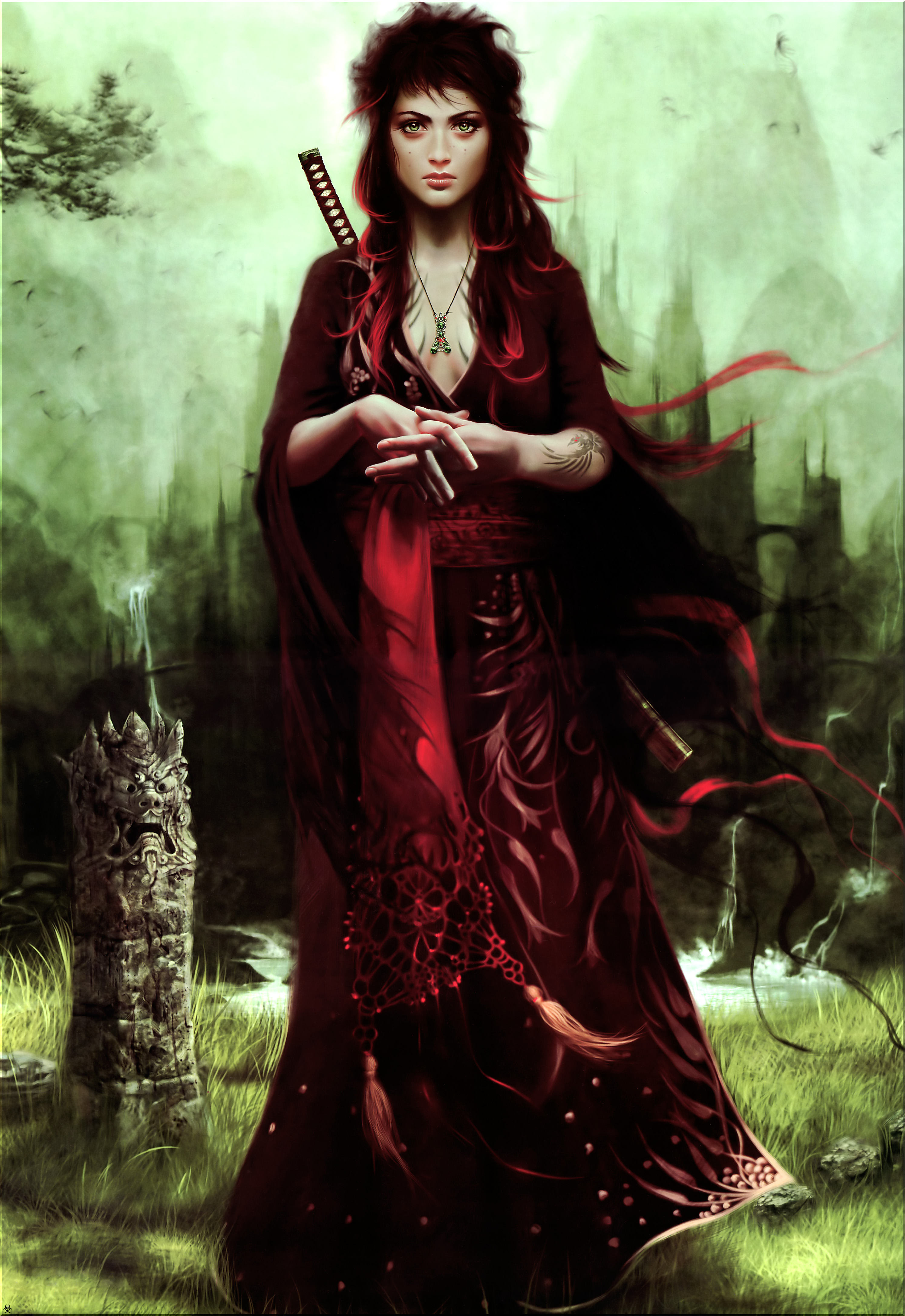 Redheads Green Eyes Fantasy Art Robes Red Dress Artwork Necklaces Free Wallpaper Wallpaperjam Com