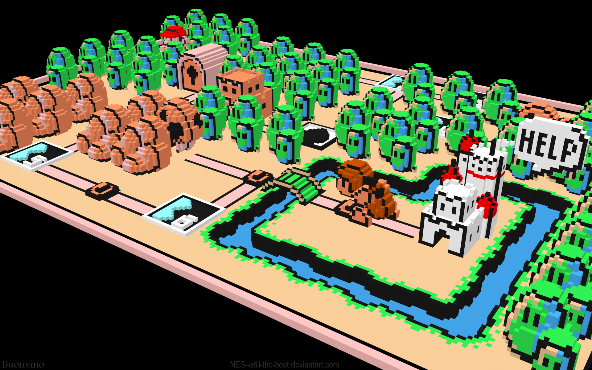 3d View Mario Super Mario Bros 3 Voxels Free Wallpaper