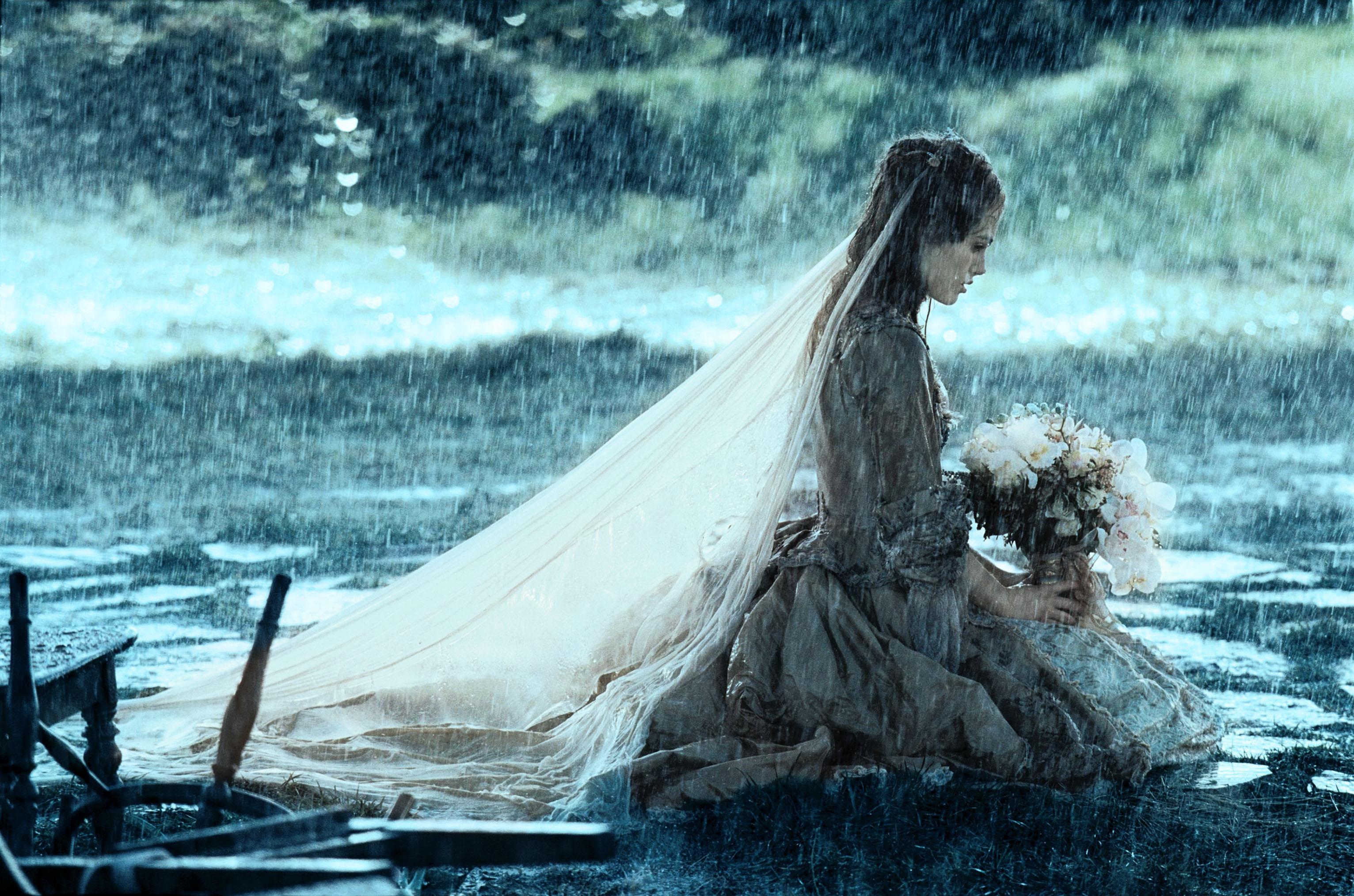 women, rain, flowers, Keira Knightley, brides, Pirates of the ...