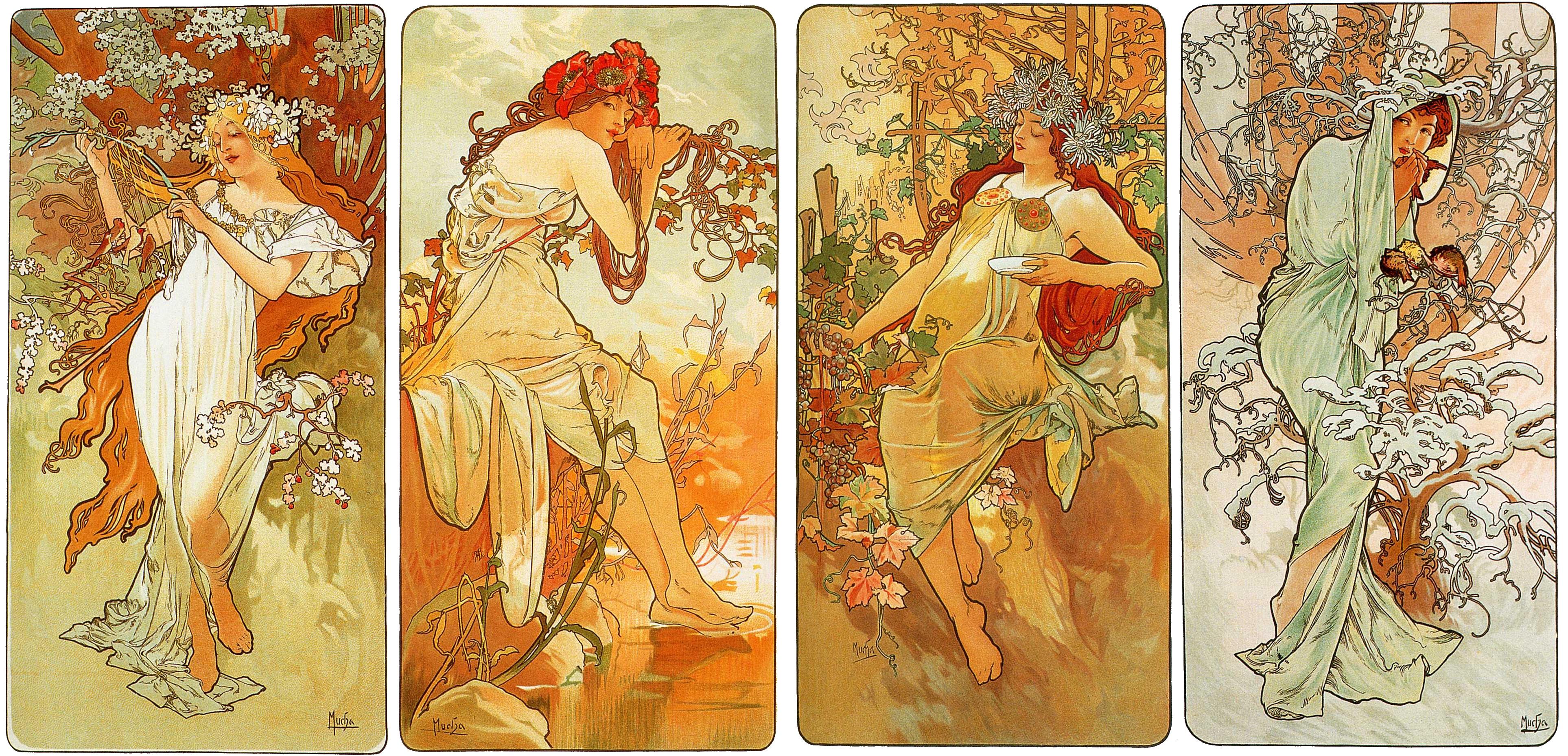 Alphonse Mucha, artwork, Art Nouveau - Free Wallpaper / WallpaperJam.com