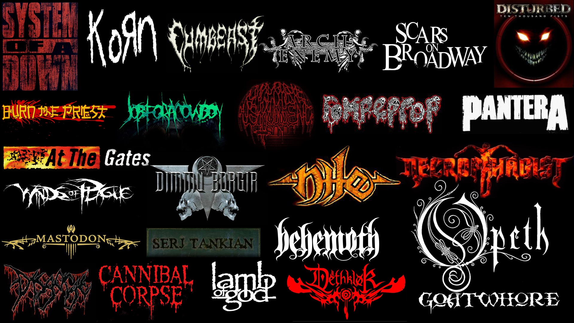 Music Metal Dethklok Opeth Soad Disturbed Dimmu Borgir