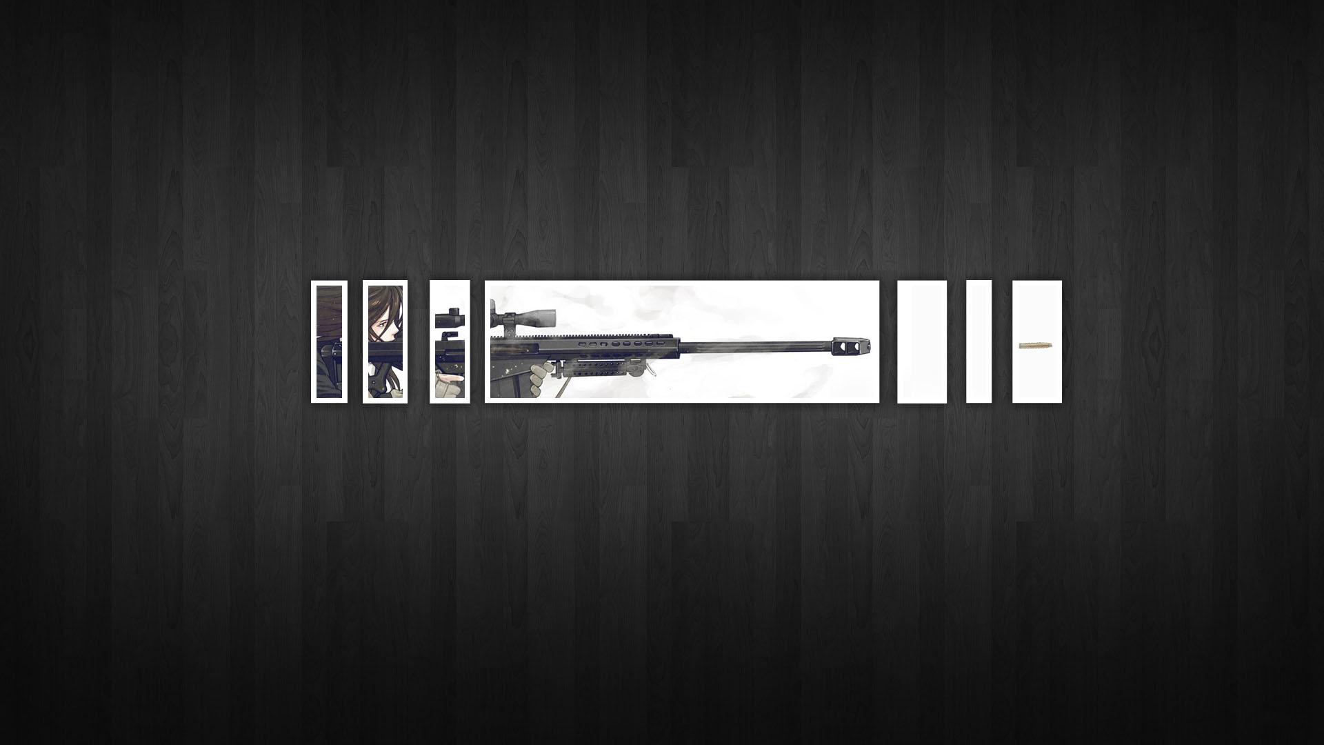 Minimalistic Snipers Gunslinger Girl Simplistic Wooden Floor