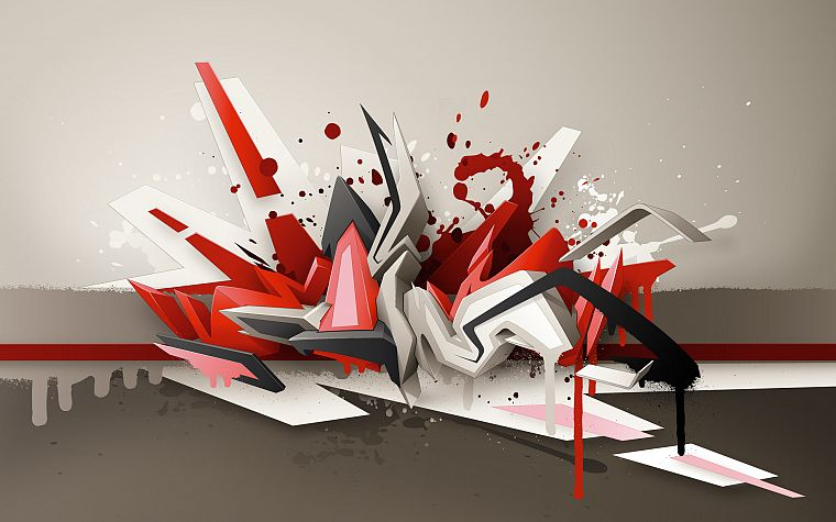 abstract, graffiti, street art, 3D art, daim - desktop wallpaper