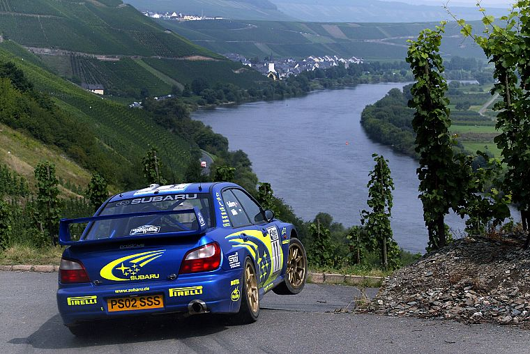 blue, cars, fields, Subaru, back view, vehicles, Subaru Impreza WRC, villages, racing, WRC, Petter Solberg, Subaru Impreza, watercourse, Subaru Impreza WRX STI - desktop wallpaper