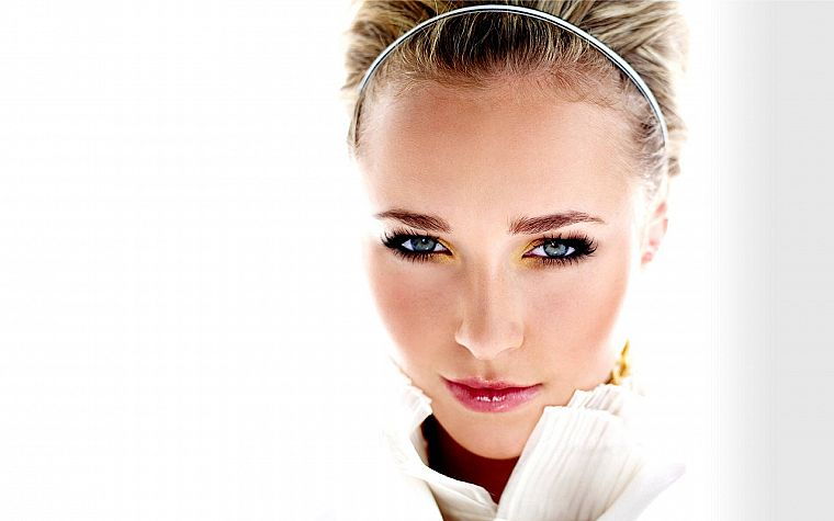blondes, women, actress, Hayden Panettiere, celebrity, headbands, faces, white background - desktop wallpaper