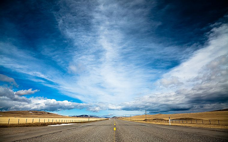 clouds, landscapes, nature, highways, roads, skyscapes, blue skies - desktop wallpaper
