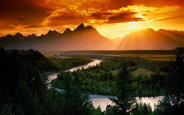 sunset, mountains, clouds, landscapes, Sun, forests, rivers, skyscapes - desktop wallpaper