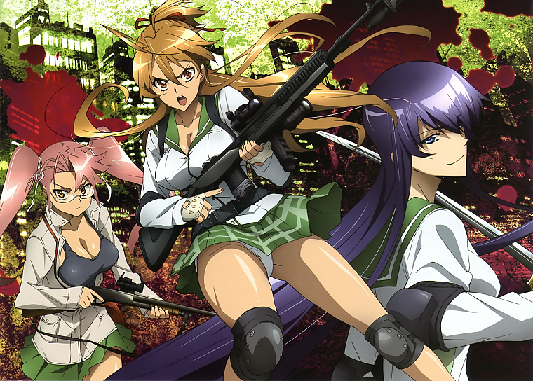 Highschool of the Dead, Miyamoto Rei, Busujima Saeko, meganekko, Takagi Saya - desktop wallpaper