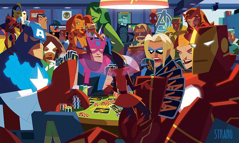 Iron Man, Thor, Spider-Man, Captain America, poker, alternative art, poker chips, She-Hulk, Marvel Comics, The Avengers, Hawkeye, Scarlet Witch, playing cards, Bruce Banner, Namor The Submariner, Antman, quick silver - desktop wallpaper