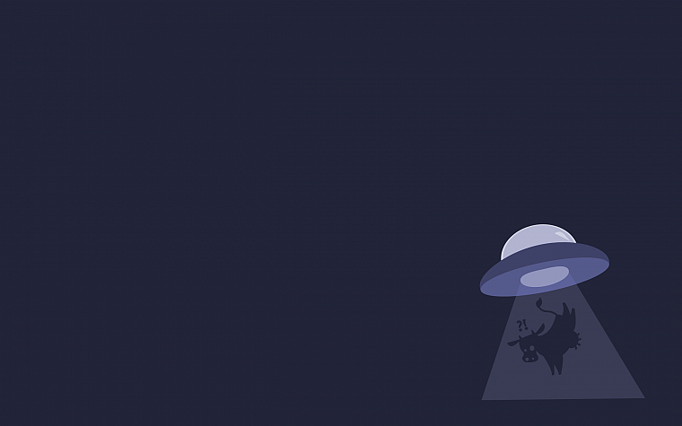 minimalistic, gentoo, cows, UFO, Abduction, Alien - desktop wallpaper