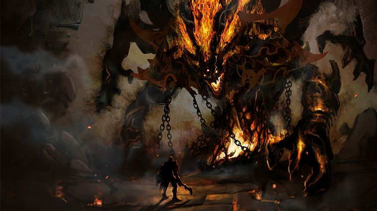 monsters, knights, fire, demons, Hell, boss, fantasy art, colossus, artwork, templar - desktop wallpaper