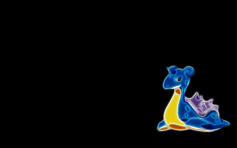 Pokemon, Fractalius, Lapras, simple background, black background - desktop wallpaper